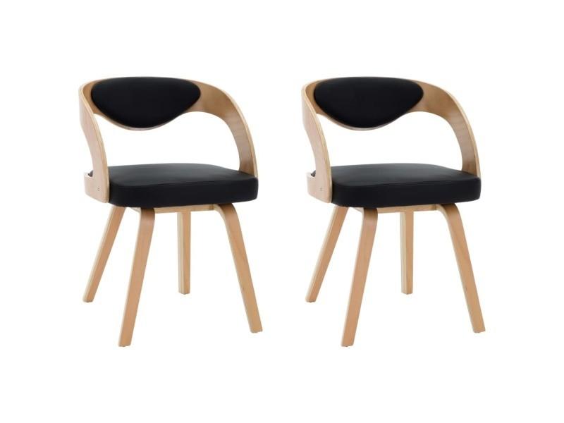 Icaverne chaises de cuisine famille chaises de salle à manger 2 pcs noir bois courbé et similicuir