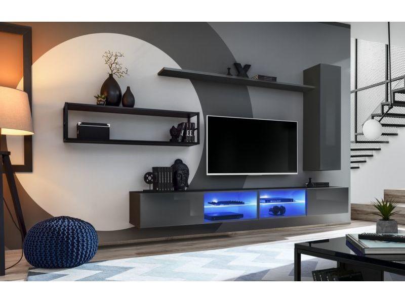 Ensemble meuble tv mural switch met iv - l 300 x p 40 x h 170 cm - gris