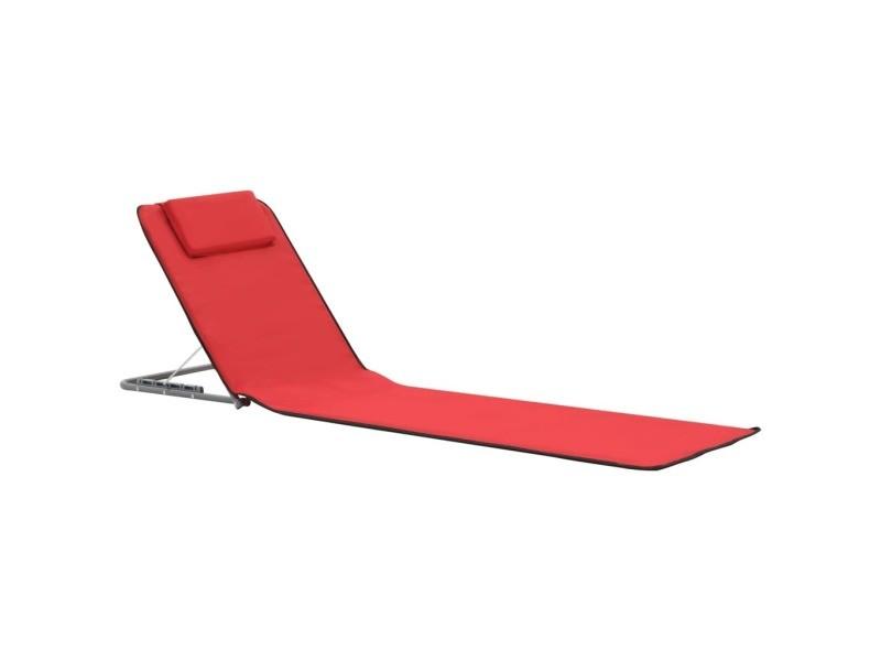 Vidaxl tapis de plage pliables 2 pcs acier et tissu rouge 44329