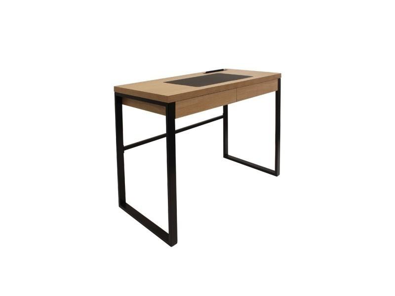 Bureau bois pied noir: bureau zig zag 2 tiroirs avec pieds en croix