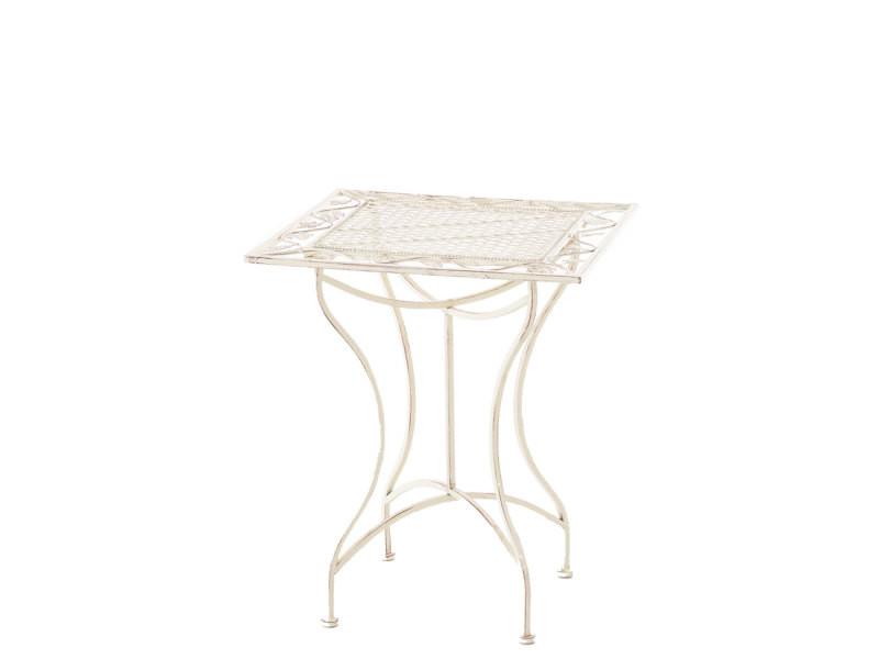 Table de jardin en fer forgé asina 60 x 60 cm , crème antique