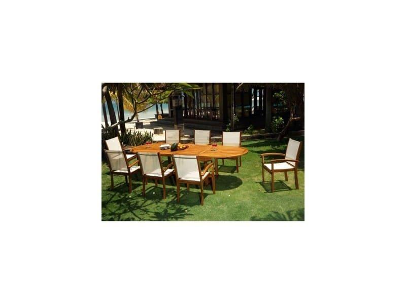 Salon de jardin en teck et batyline 8 places table 200-300 cm ...