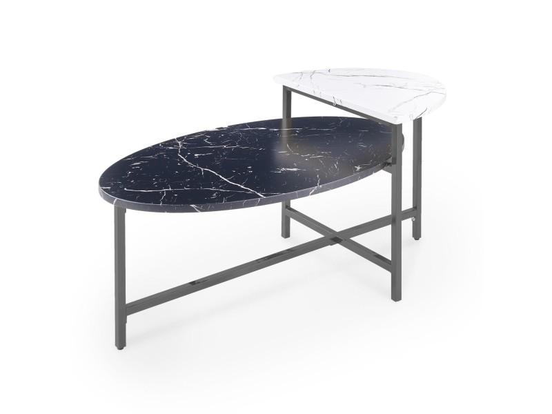 Table basse ovale avec double plateau en verre imitation marbre lilian