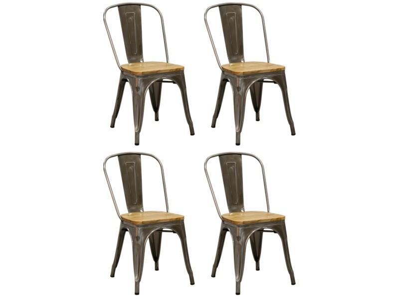 Chaise industrielle en métal et bois d'orme huilé (lot de 4) acier brossé