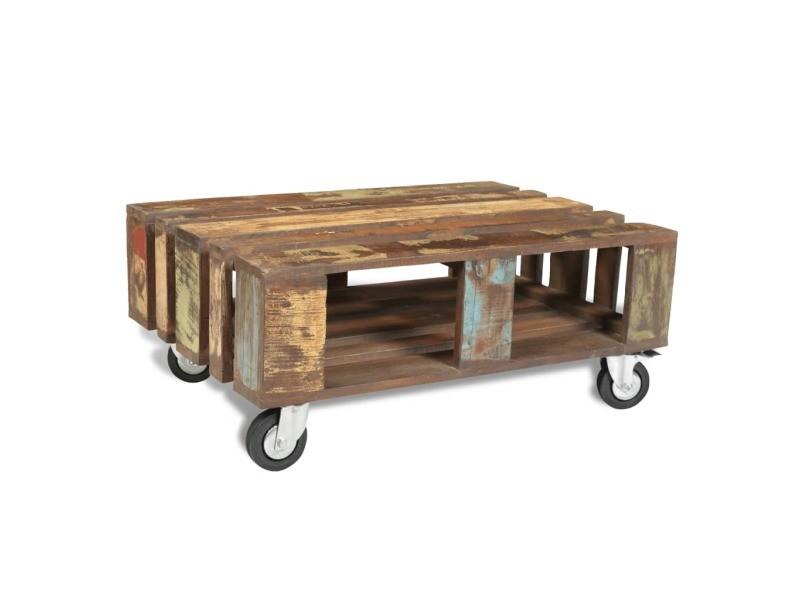 Vidaxl table basse avec 4 roulettes bois recyclé 240949