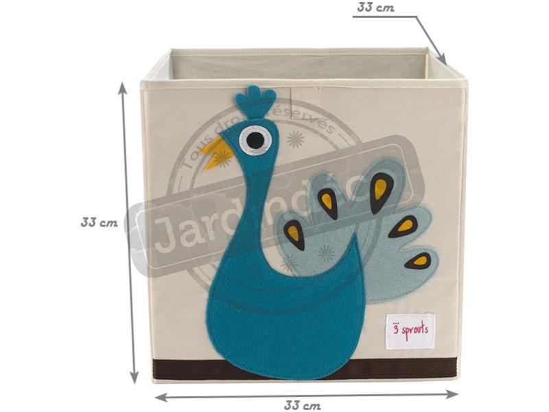 Cube de rangement mes animaux préférés paon - Vente de 3 SPROUTS - Conforama