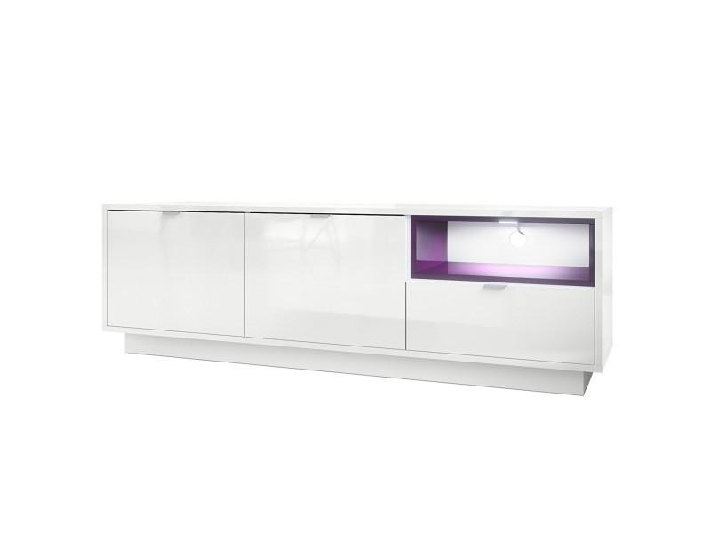 Meuble tv 153 cm laqué blanc avec insertion mûre