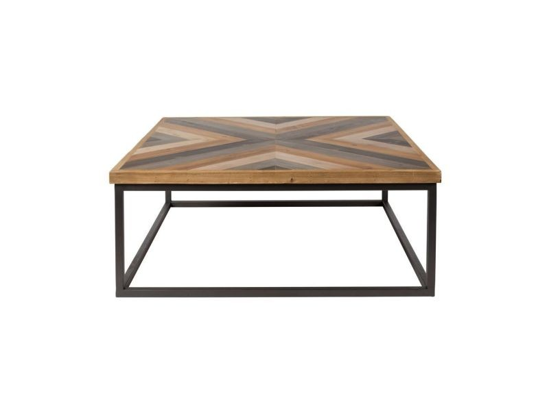 Table basse design carré 81x81cm joy - couleur - bois / métal 2300117
