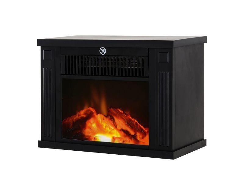 chemin e lectrique po le style contemporain thermostat 600 1200 w noir vente de homcom. Black Bedroom Furniture Sets. Home Design Ideas