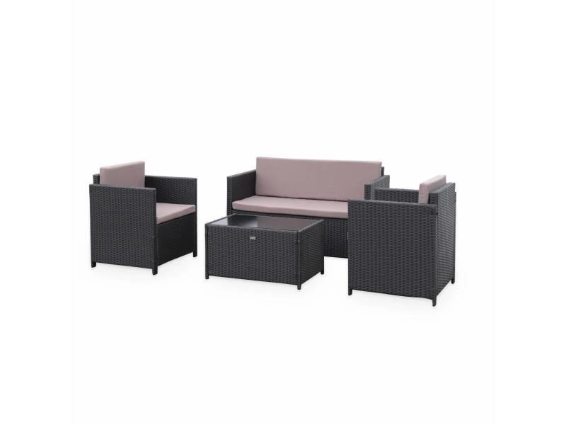 Salon de jardin en résine tressée - perugia - chocolat. Coussins marron - 4 places - 1 canapé. 2 fauteuils. Une table basse