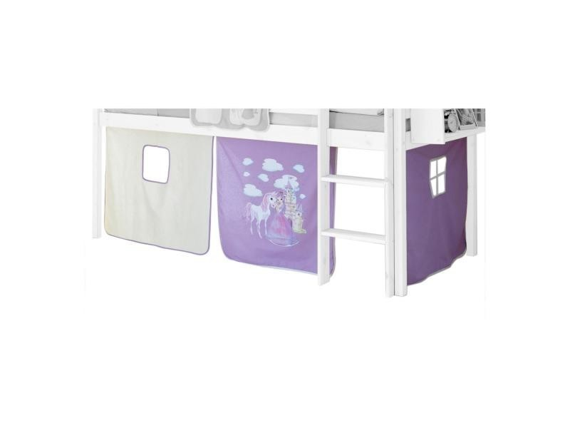 rideaux pour lit superpos lit sur lev cabane tente coton motif princesse lilas et blanc. Black Bedroom Furniture Sets. Home Design Ideas