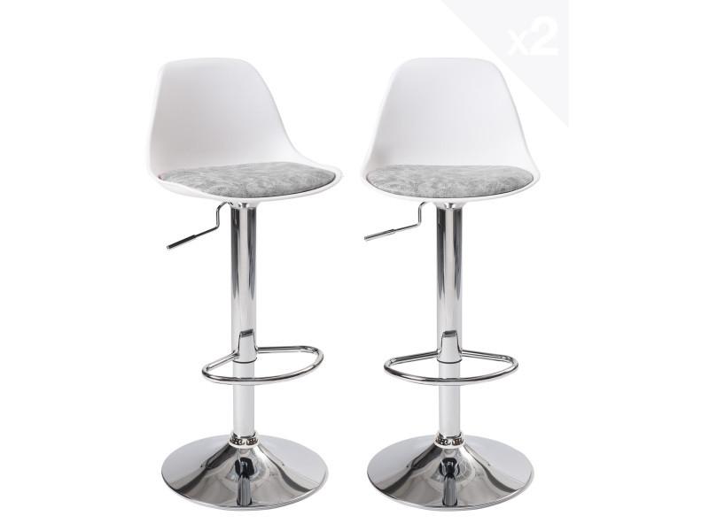 Lot de 2 tabourets de bar design coussin intégeré SIG+ (blanc-gris) 130