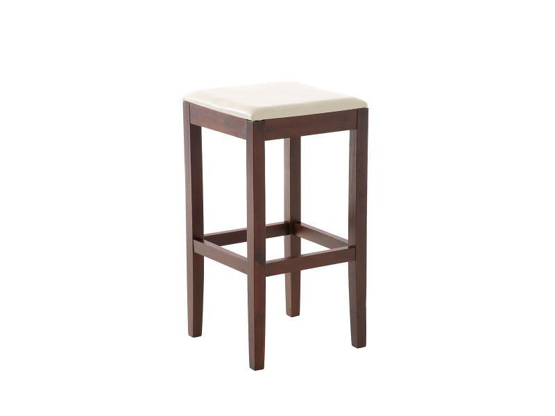 Tabouret de bar en bois avec siège en polyuréthane cappuccino / crème - 78 x 40 x 40 cm -pegane-