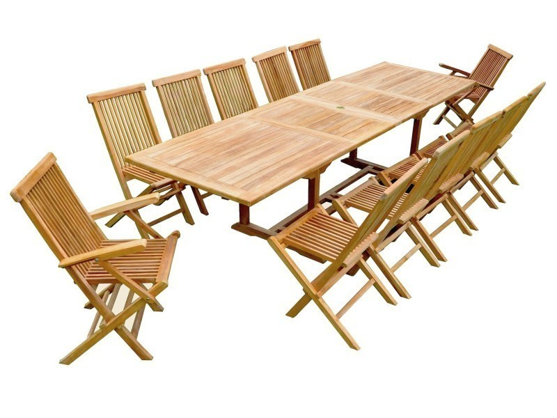 Salon de jardin teck table rallonge 10 chaises 2 fauteuils - Vente ...