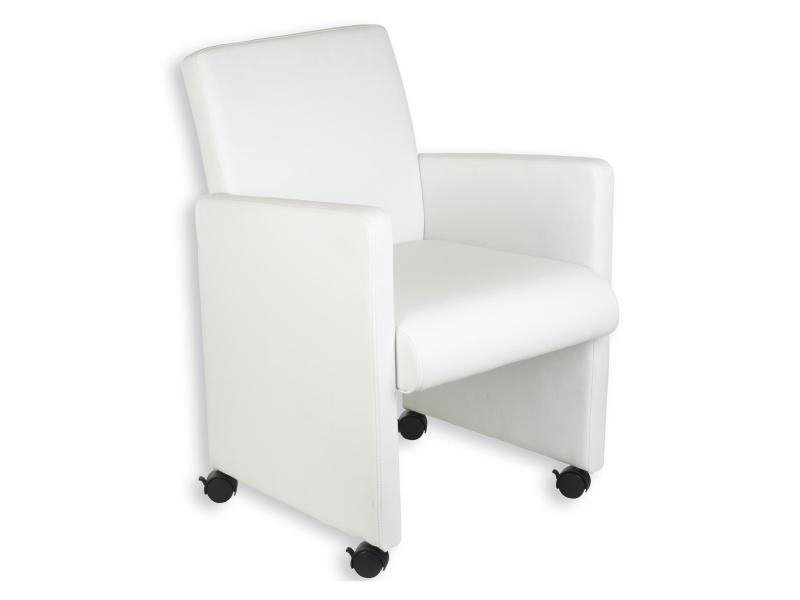 fauteuil sur roulettes antonia blanc vente de fauteuil convertible conforama. Black Bedroom Furniture Sets. Home Design Ideas