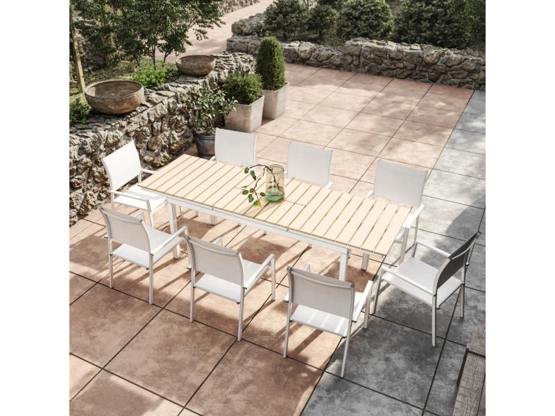 Table de jardin extensible aluminium blanc 180/240cm + 8 fauteuils ...
