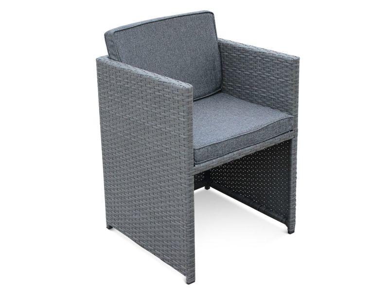 Salon de jardin vasto gris table en résine tressée 4 à 8 ...