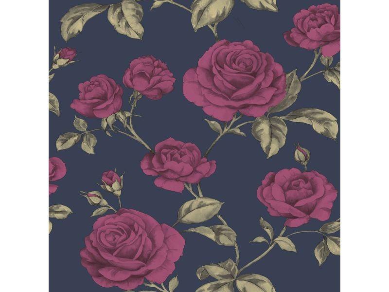 Papier peint intissé roses comtesse métallique 1005 x 52cm rose, bleu 104135