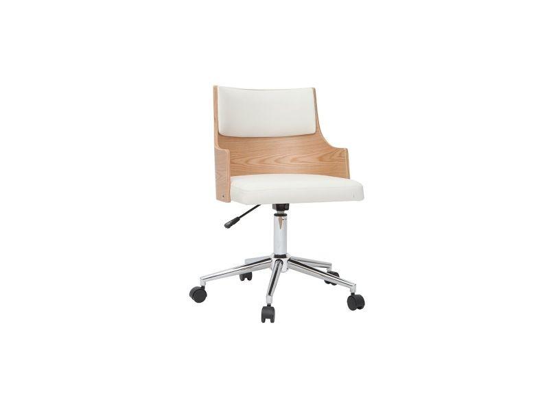 Chaise de bureau design blanche et bois blair avec coussin intégré
