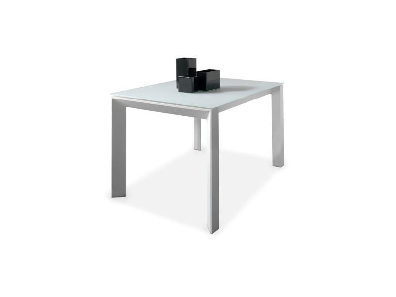 Table de repas à allonge plateau verre blanc mat - mista - l 140 x l 90 x h 76 - neuf