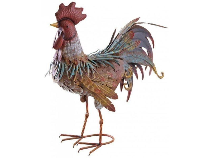 Statue de jardin coq décoratif en métal laqué