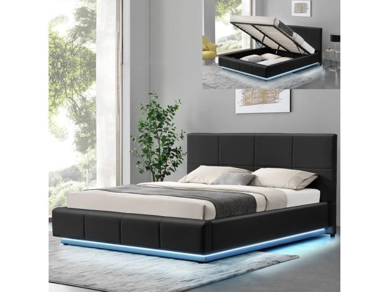 lit design alexi avec sommier et coffre de rangement noir 160x200 conforama. Black Bedroom Furniture Sets. Home Design Ideas