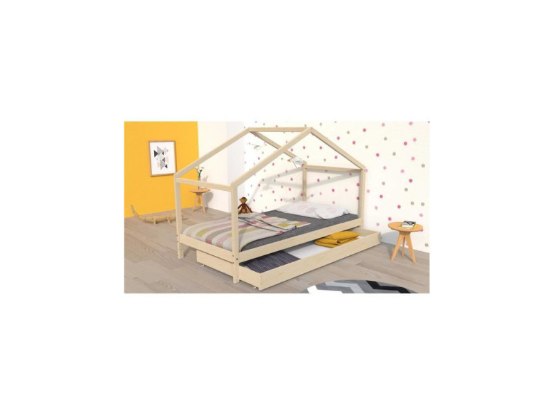 Koala lit cabane enfant avec tiroir - bois pin massif - naturel - sommier inlcus - 90x190cm KOALA13271