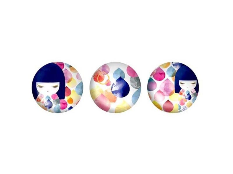 3 magnets ronds en verre assortis kimmidoll - bleu