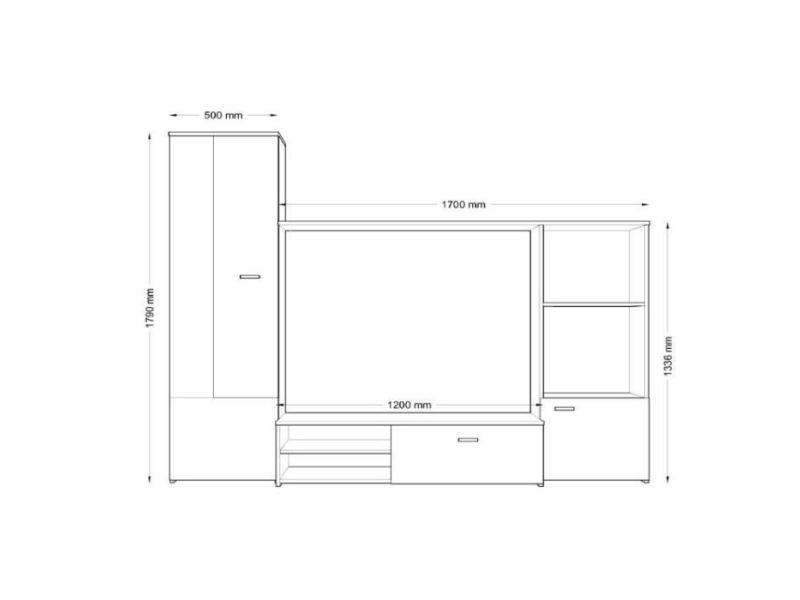 Meuble tv - meuble hi-fi hugo meuble tv mural contemporain blanc mat - l 220 cm
