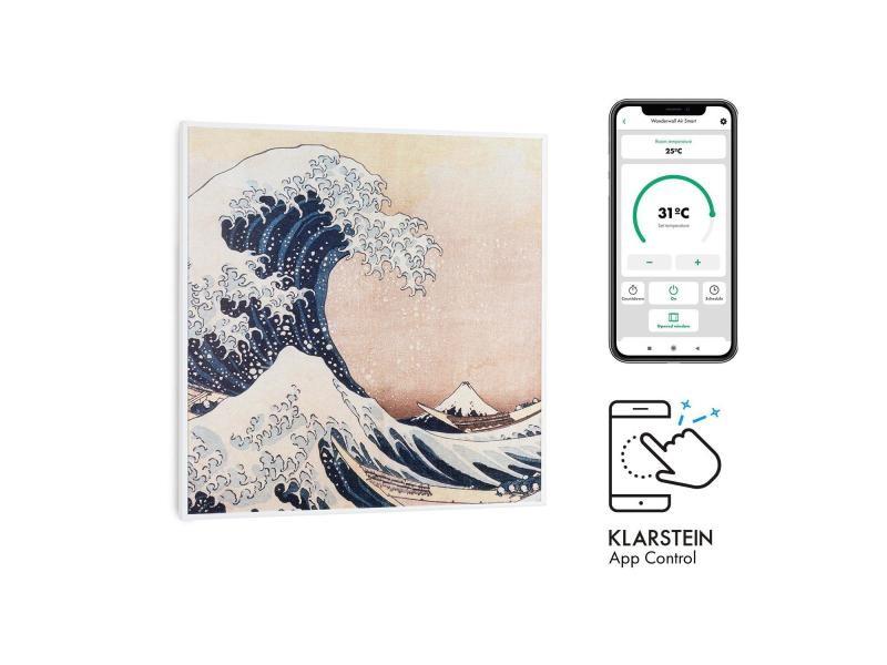 Klarstein wonderwall air art smart radiateur infrarouge connecté , 60 x 60cm , chauffage 350w , pour 7m² , , design vagues