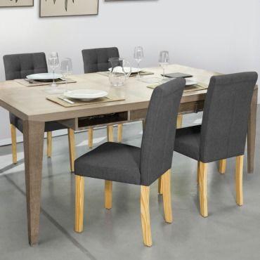 Lot de 4 chaises polga capitonn es gris anthracite pour - Conforama chaises salle a manger ...