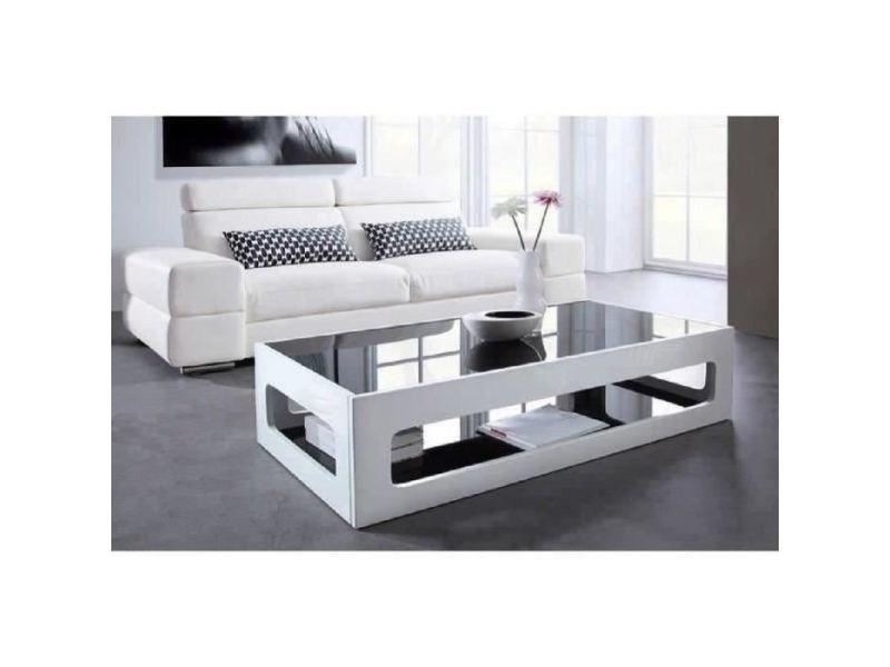 Table basse angel table basse rectangulaire style contemporain laquée blanc brillant avec plateaux en verre trempé noir - l 120 x l 60 cm