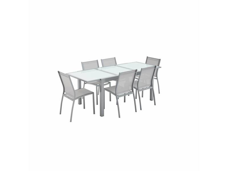 Salon de jardin table extensible - orlando gris clair ...