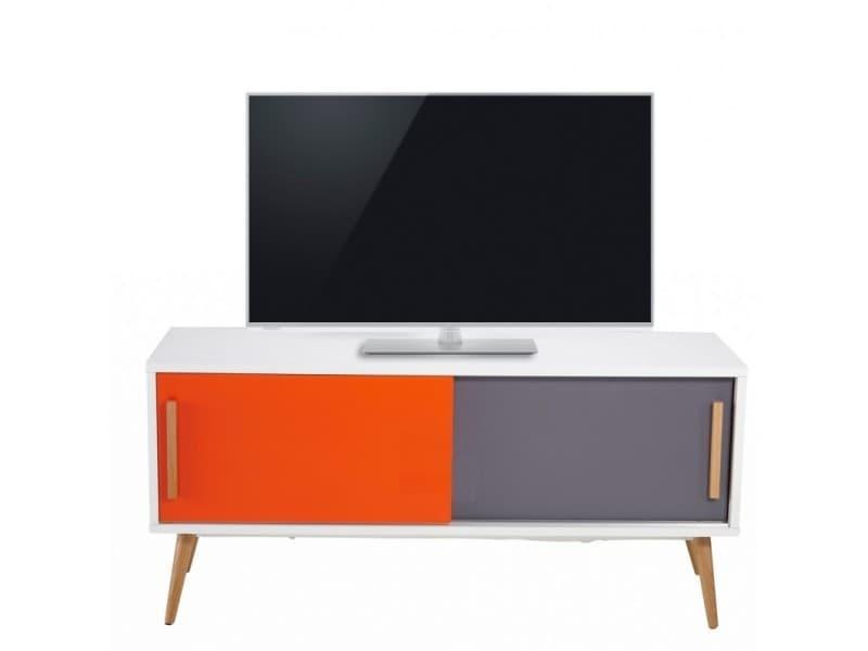 Meuble tv blanc orange et gris