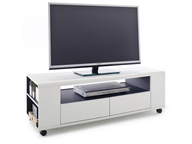 Meuble Tv Design Avec 2 Tiroirs En Bois Mdf Coloris Blanc Et Gris
