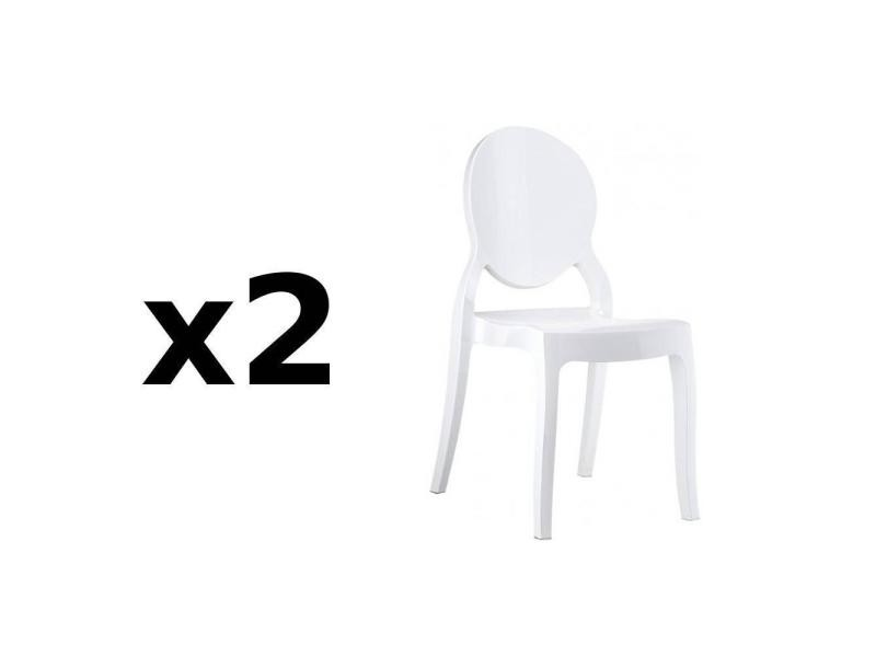 lot de 2 chaises m daillon imp ratrice style louis xvi en polycarbonate blanc opaque 20100872601. Black Bedroom Furniture Sets. Home Design Ideas