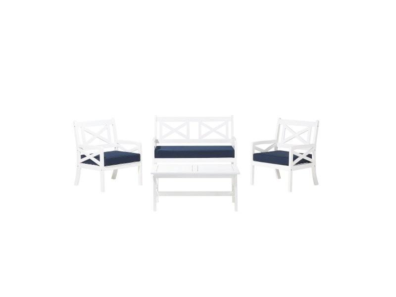 Salon de jardin en bois blanc avec coussins bleu marine baltic 72912 ...