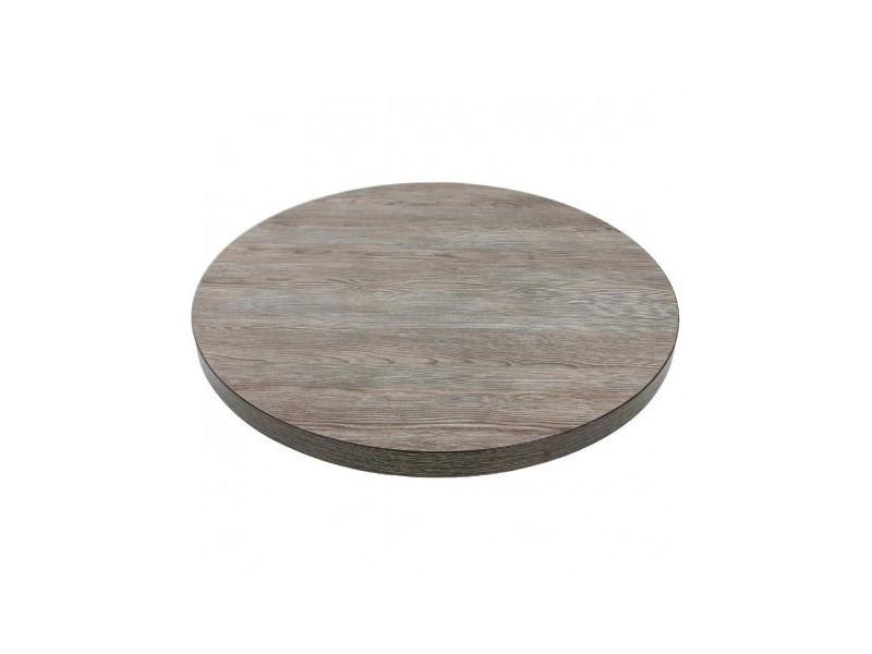 Plateau de table rond 600 mm effet bois gris - bolero