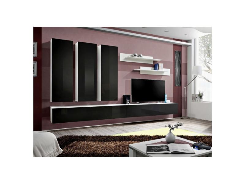 Ensemble meuble tv mural - fly i - 320 cm x 190 cm x 40 cm - blanc et noir