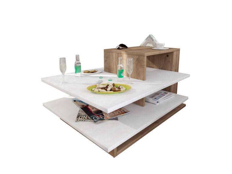 Table basse design scandinave venüs - l. 85 x h. 43 cm - marron noix