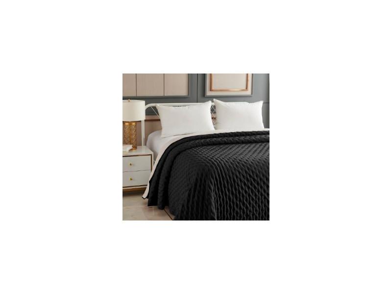 Dessus de lit réversible uni - 240 x 260 cm - gris foncé