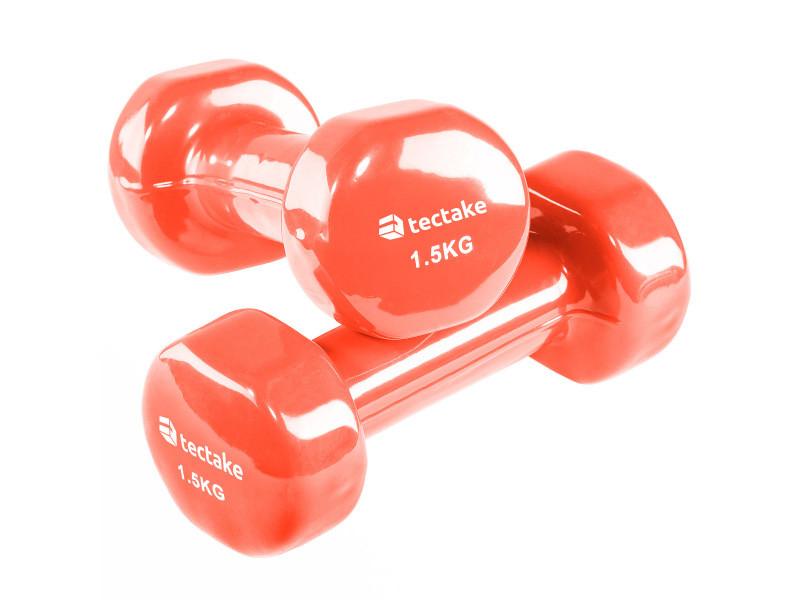 Tectake 2 haltères de fitness, de musculation en vinyle - 2 x 1,5 kg 402358