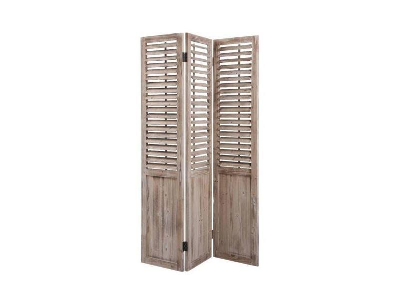 paravent 3 panneaux en bois vieilli vente de aubry gaspard conforama. Black Bedroom Furniture Sets. Home Design Ideas