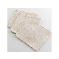 3 serviettes de table jacquard damasse serpentile or 40 x 40 cm