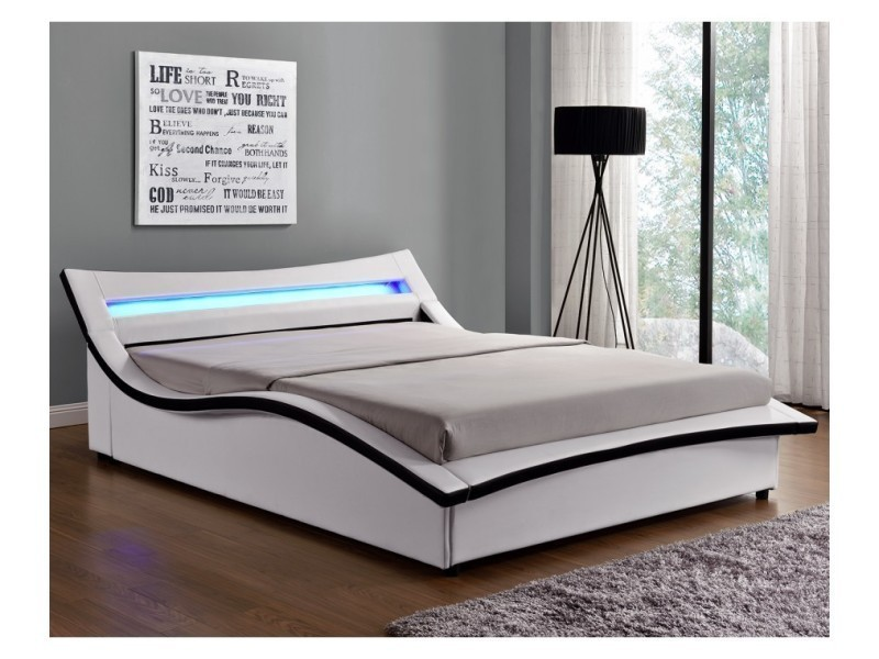 magnifique lit sleepi structure de lit en simili cuir blanc avec coffre et led int gr es. Black Bedroom Furniture Sets. Home Design Ideas
