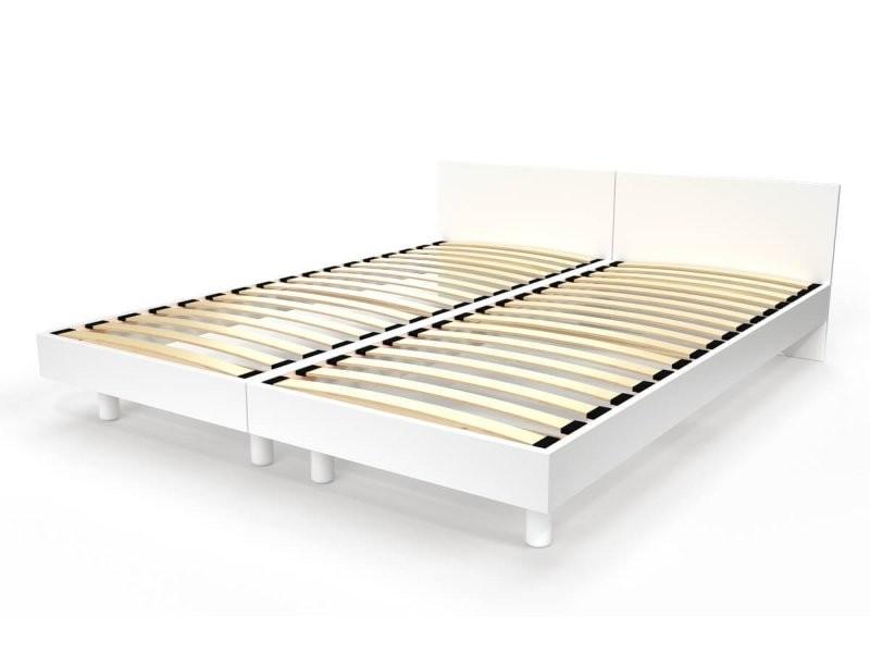 Lit twin bois massif 80x190 blanc TWIN80-LB