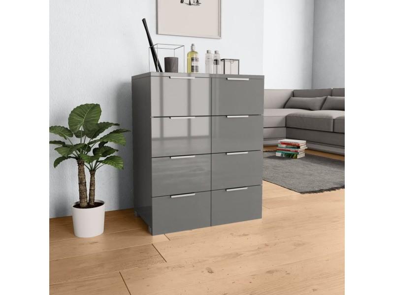 Inedit armoires et meubles de rangement reference reykjavik buffet gris brillant 60 x 35 x 76 cm aggloméré