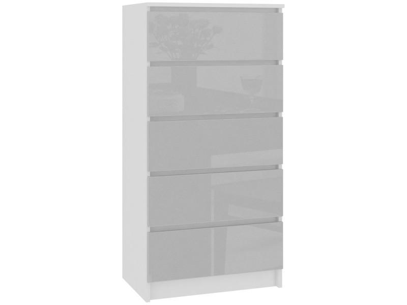 Skandi - commode contemporaine chambre + salon + bureau 121x60x40 cm - 5 tiroirs - design moderne - chiffonier semainier - blanc/gris clair laqué