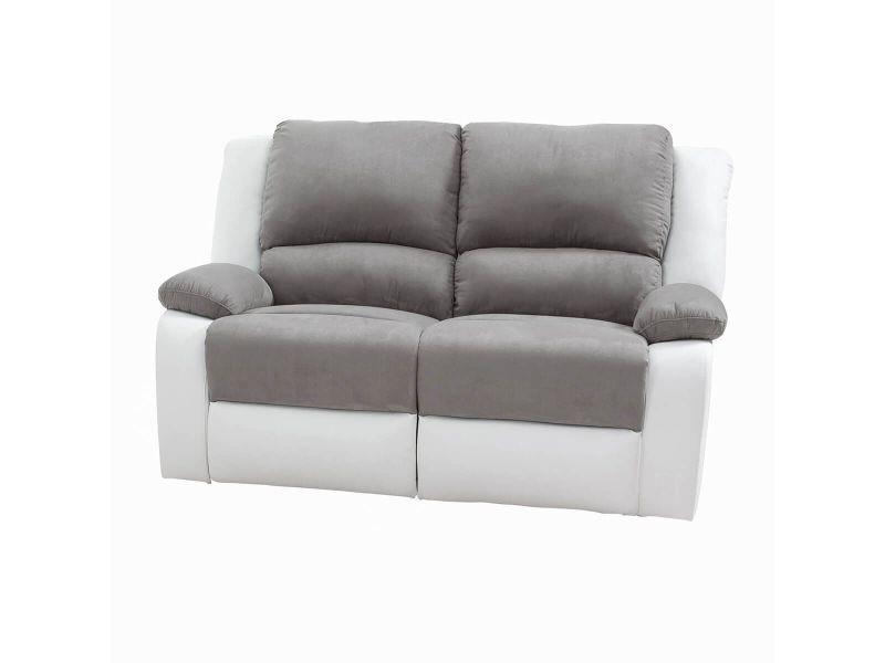 Stroke - canapé relax manuel 2 places bi-matière
