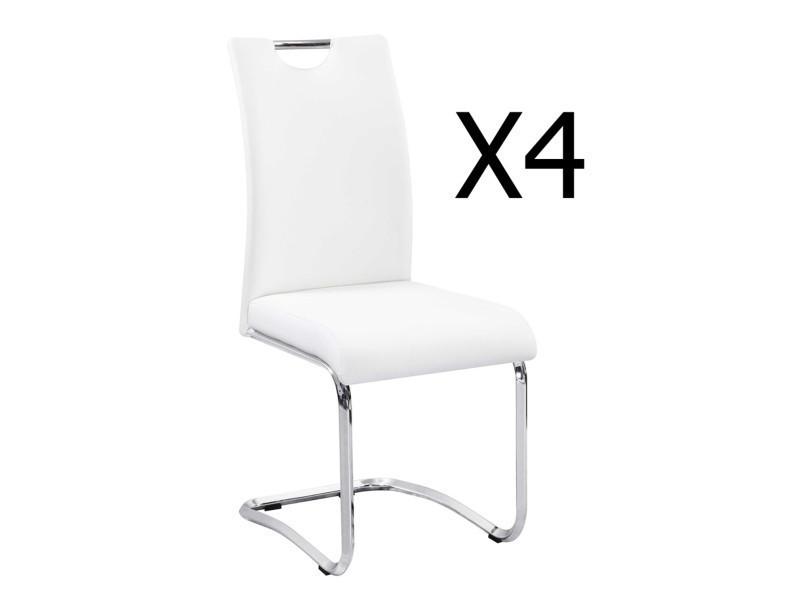Lot de 4 chaises coloris blanc / chromé - dim : 430 x 570 x 960 mm - pegane -